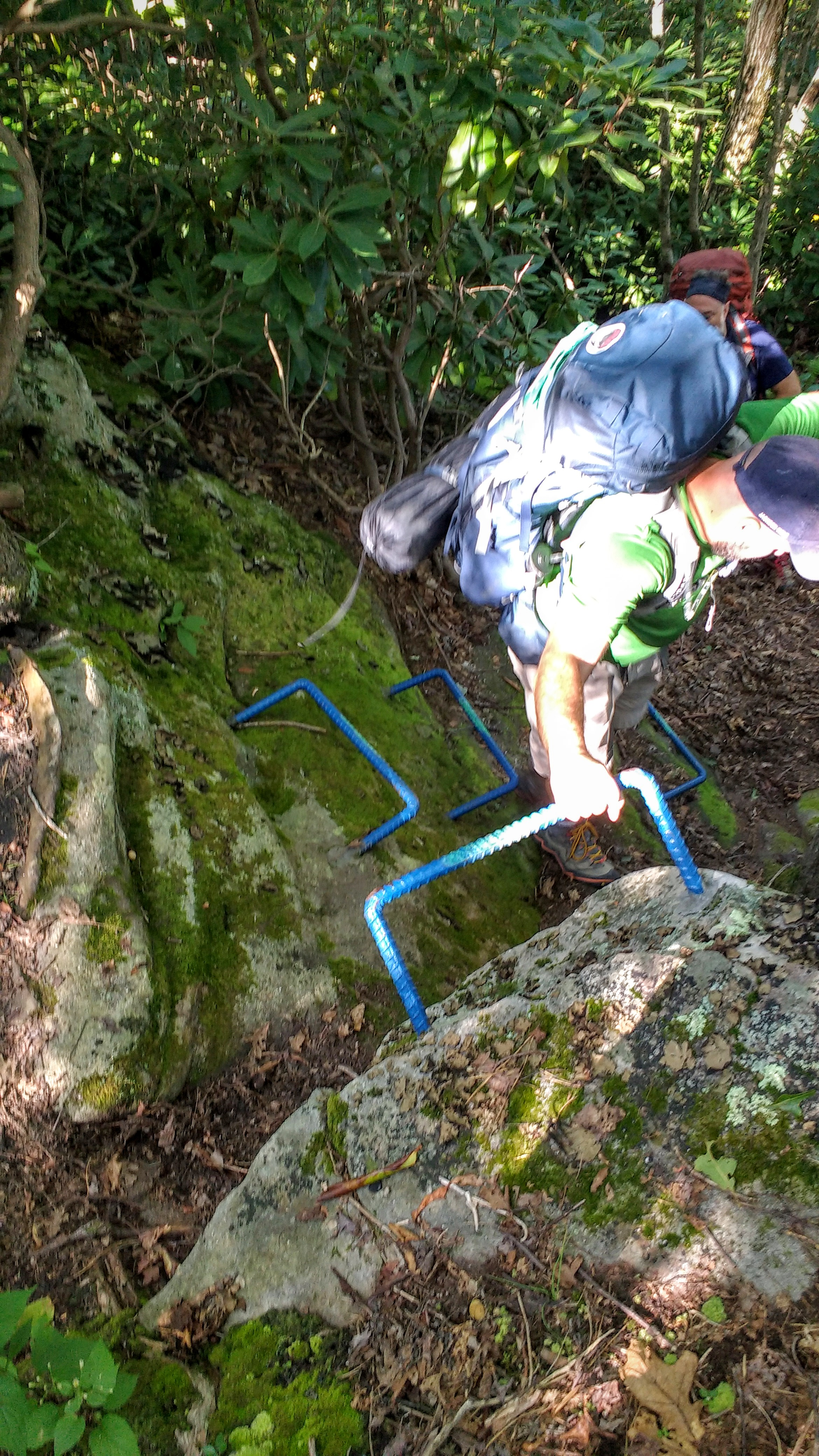 Steel steps on Pine Mountain Trail