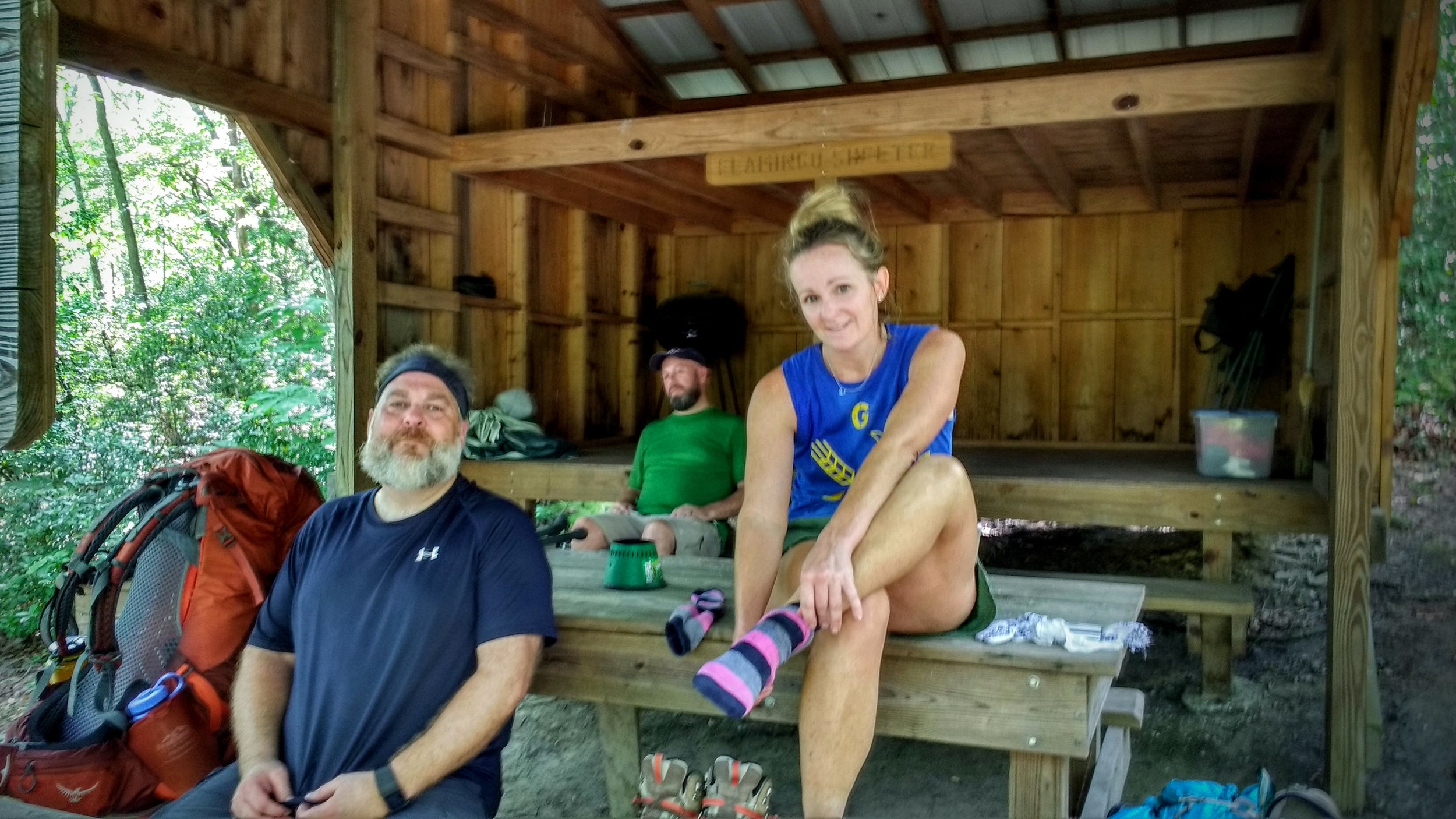 Unwinding at Flamingo Shelter after two days of extreme heat and humidity on Pine Mountain Trail