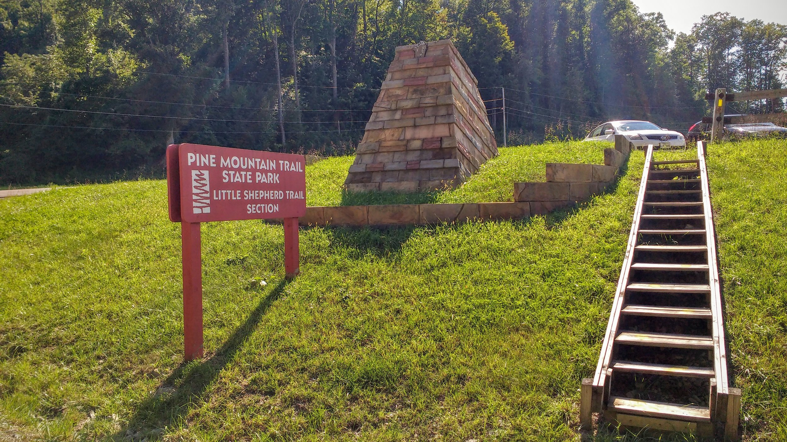 Steps to trailhead parking at the junction of Pine Mountain Trail and Little Shepherd Trail - both of which are part of the Great Eastern Trail