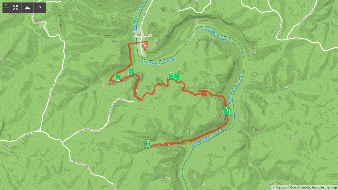 Map of Catawba Overlook, Dick Gap Falls, and Big Spring Falls hike.