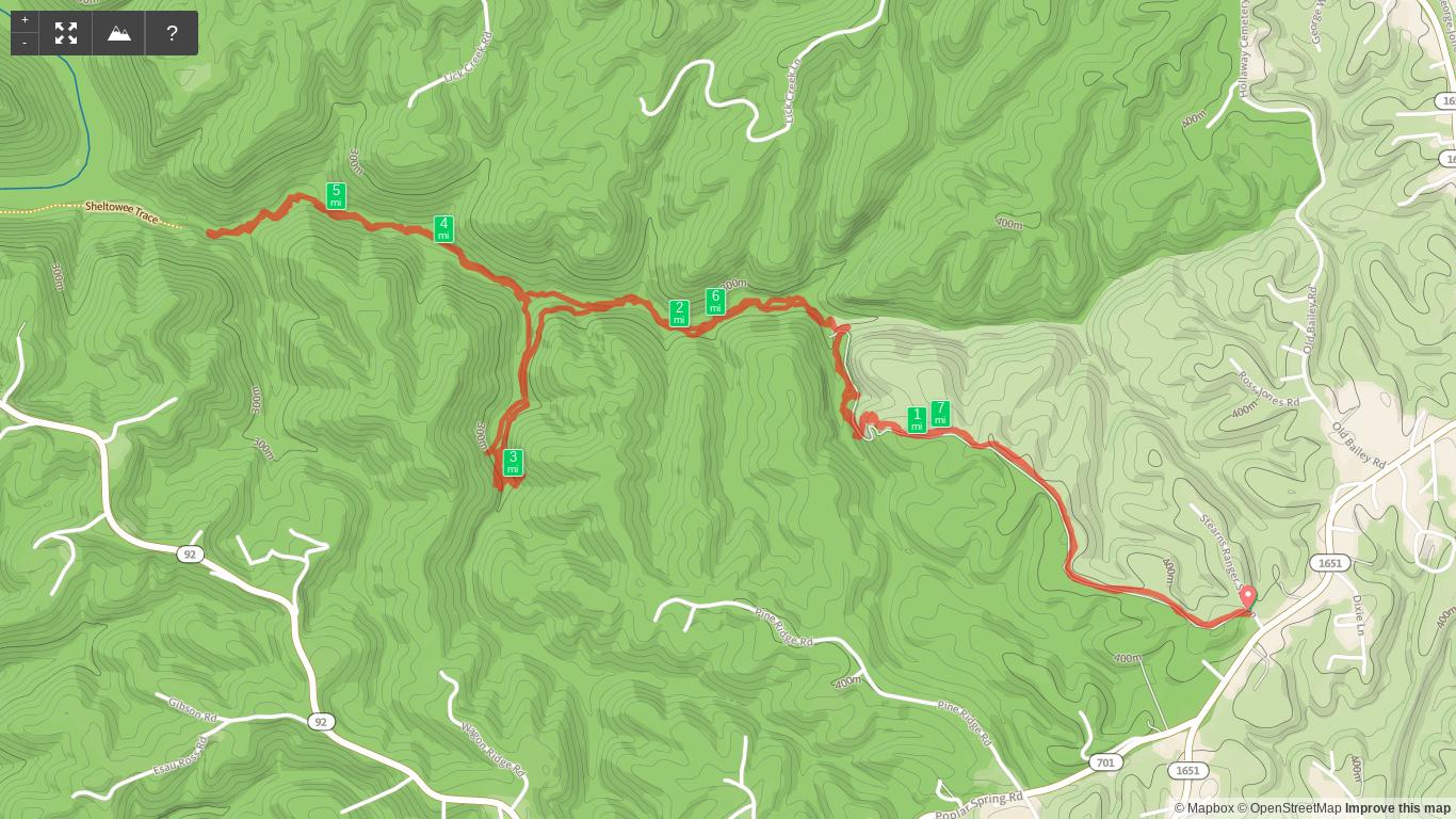 Map of Lick Creek and Princess Falls hike