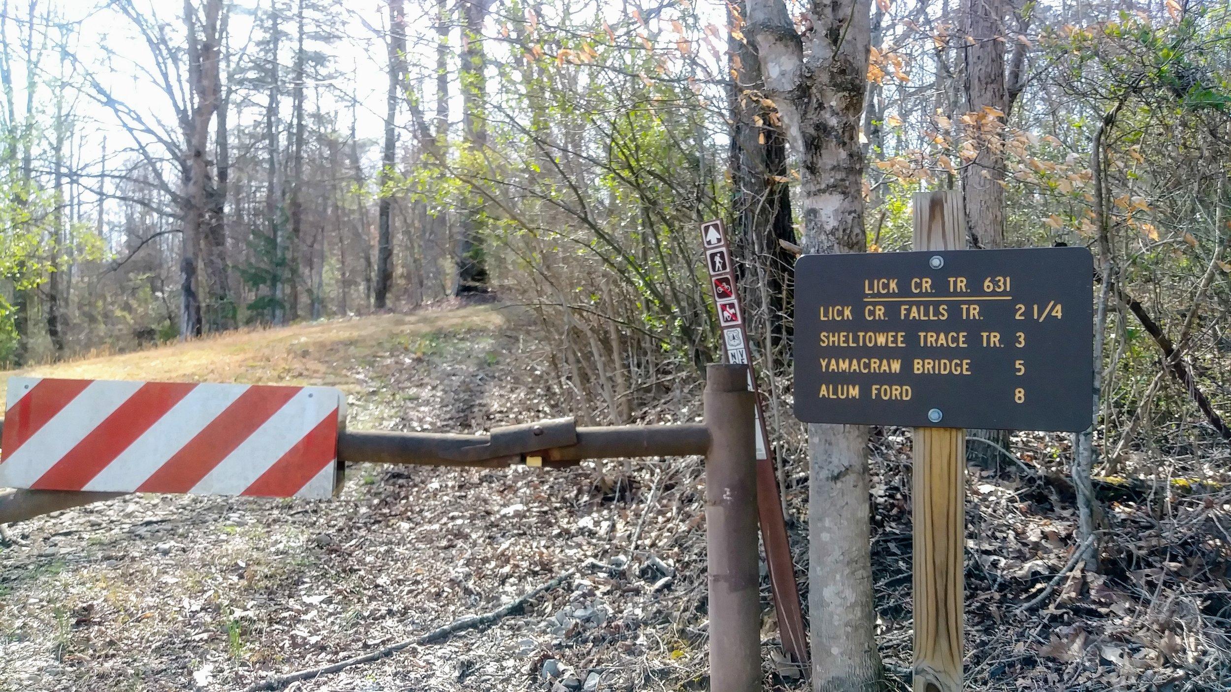 Trail sign at Lick Creek trailhead