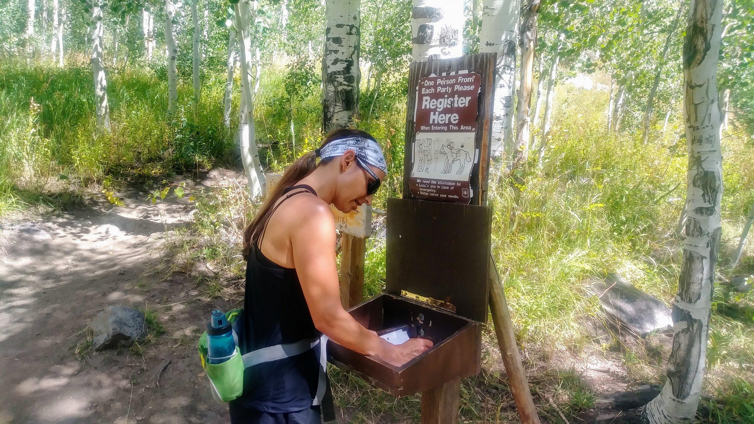 Signing in at start of Zirkel Circle hike