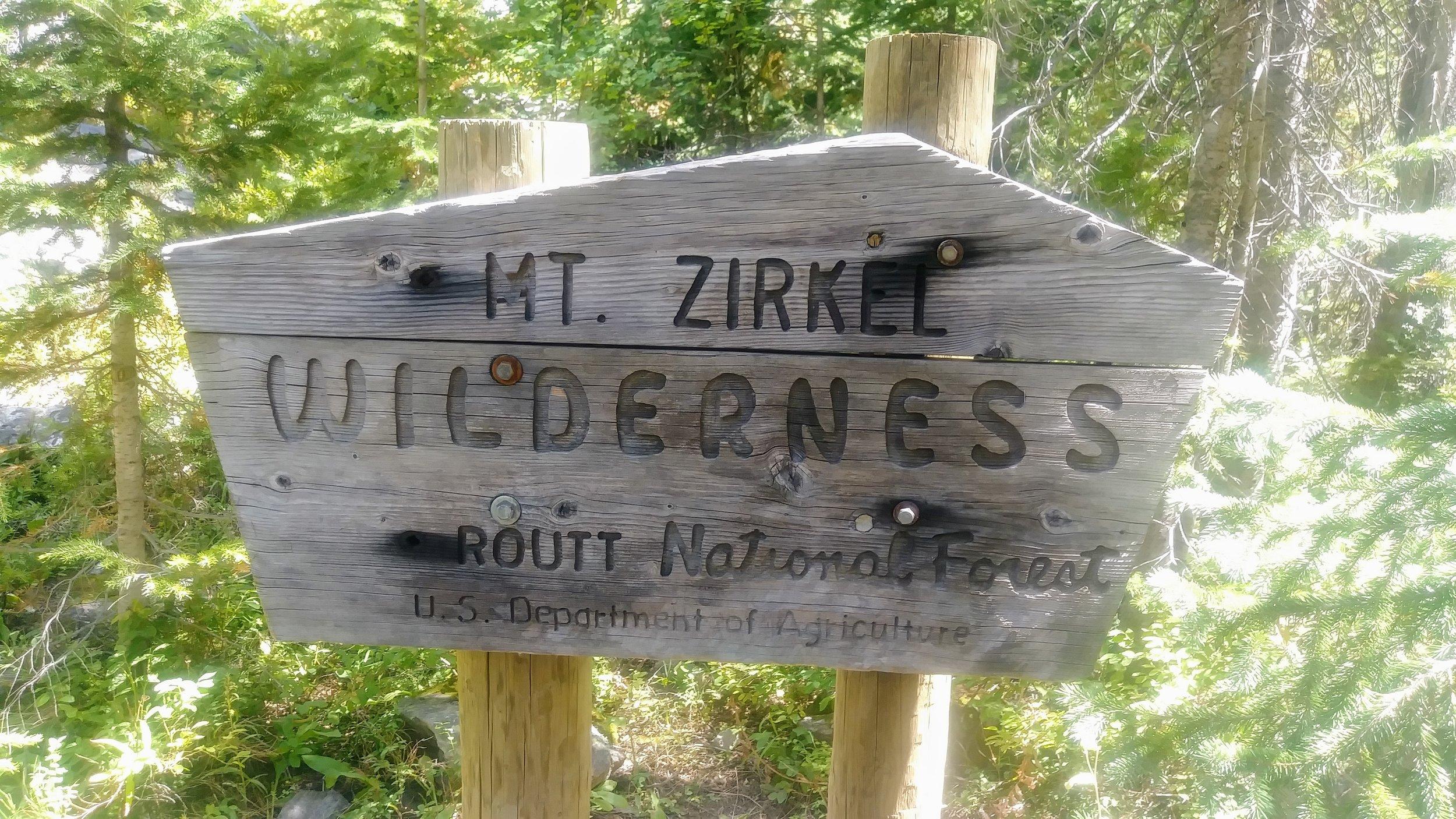 Mt. Zirkel Wilderness boundary marker in Routt National Forest