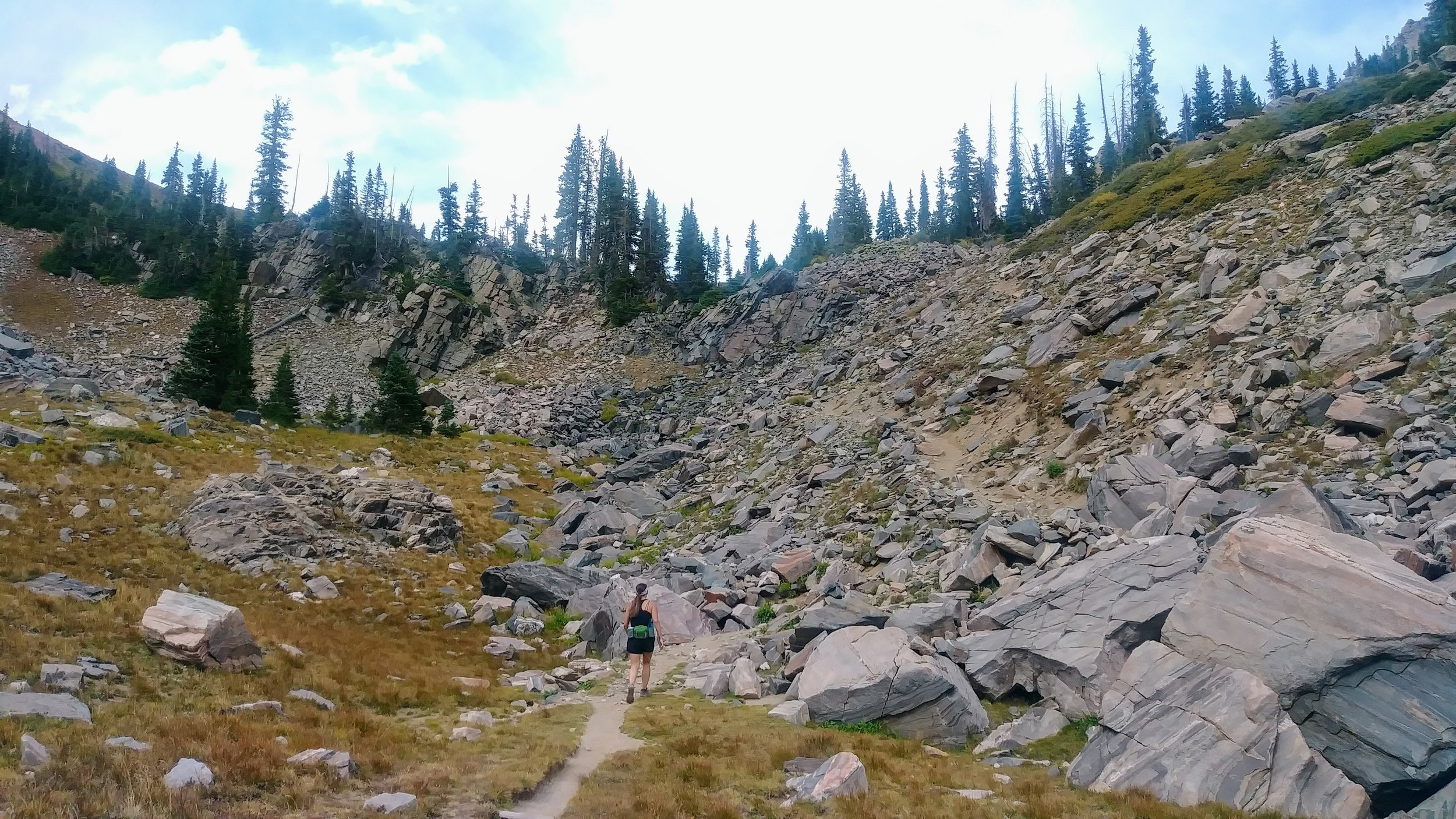 A rocky final ascent to Gilpin Lake
