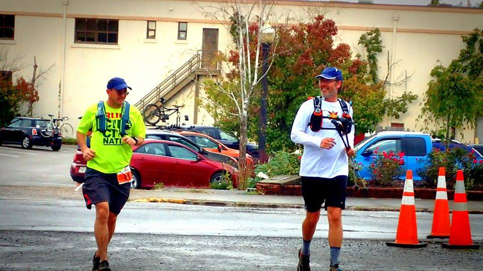 The final turn to the finish at Cloudsplitter 100 with Rob Gentry - his first 100-mile finish!