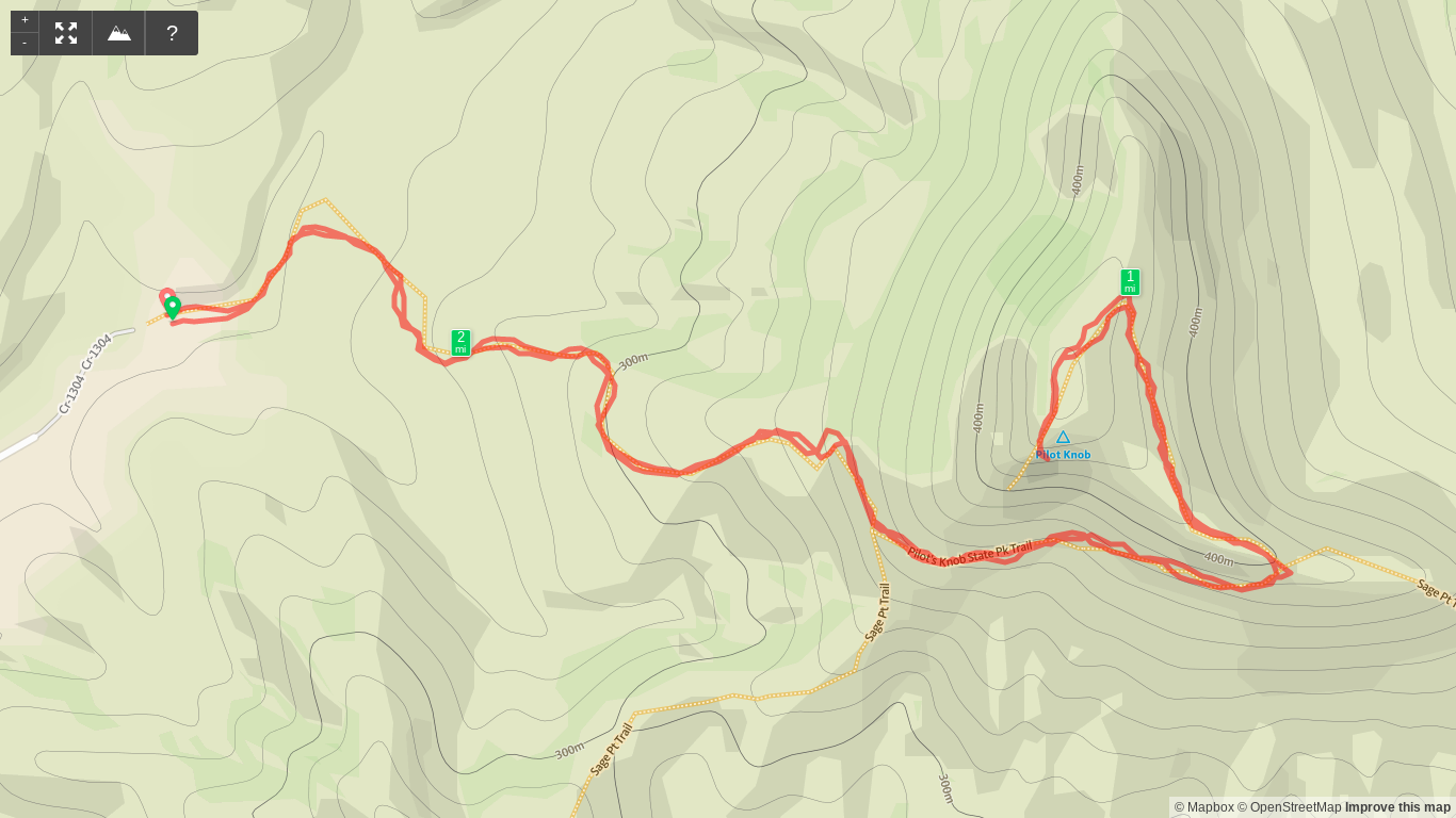 Map of Hike to Pilot Knob