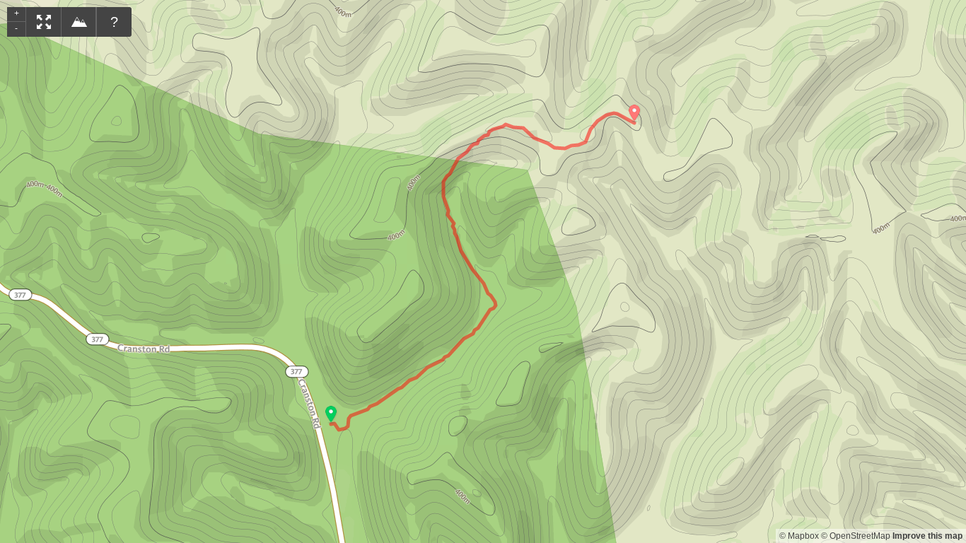 Map of Sheltowee Trace Northern Terminus to First Campsite