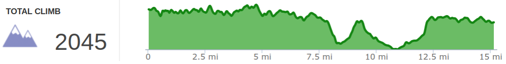 Elevation Profile of Sheltowee Trace Day 2 Hike