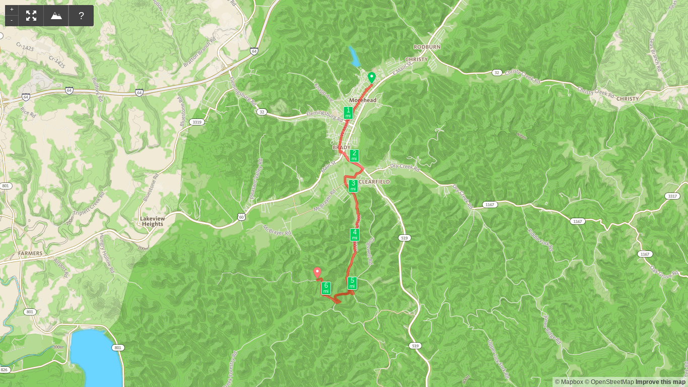 Map of Sheltowee Trace Day 3 - Morehead to Amburgy Rocks