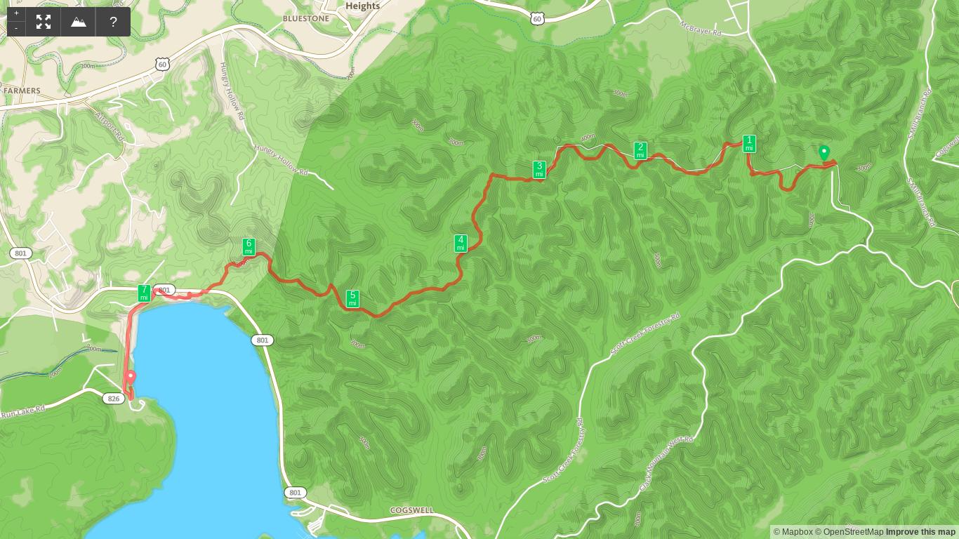 Map of Sheltowee Trace Day 4 - Amburgy Rocks to Stony Cove Picnic Area