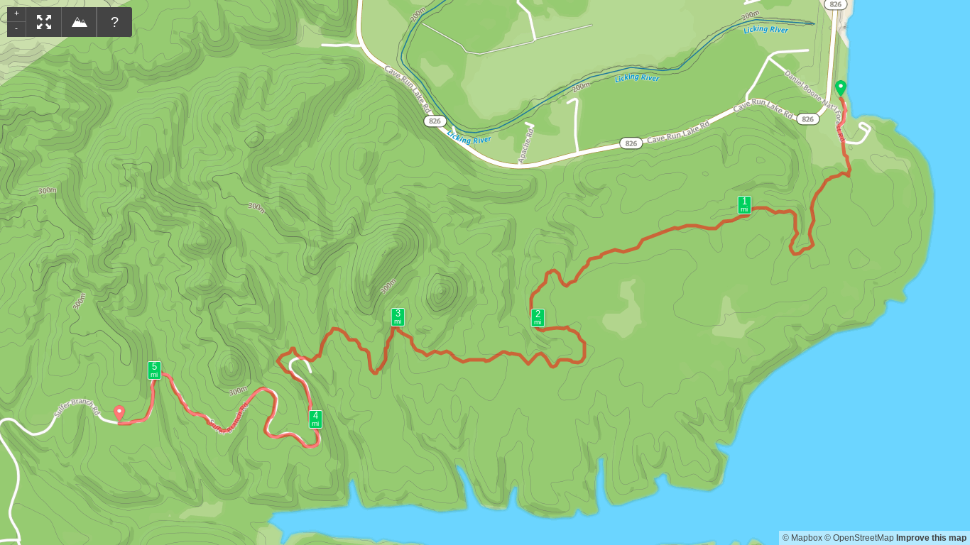 Map of Sheltowee Trace Day 4 - Stony Cove to Sulfur Branch Road