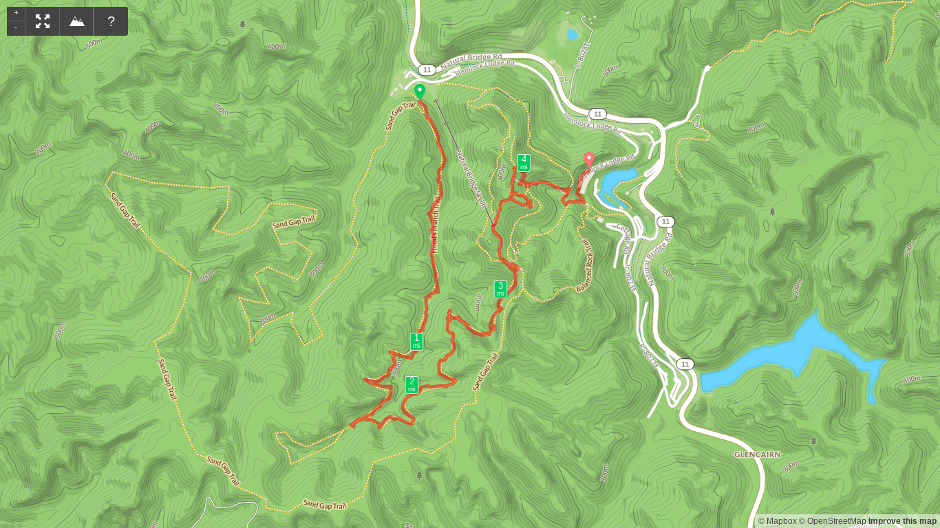 Map of Hood's Branch to Natural Bridge Hike