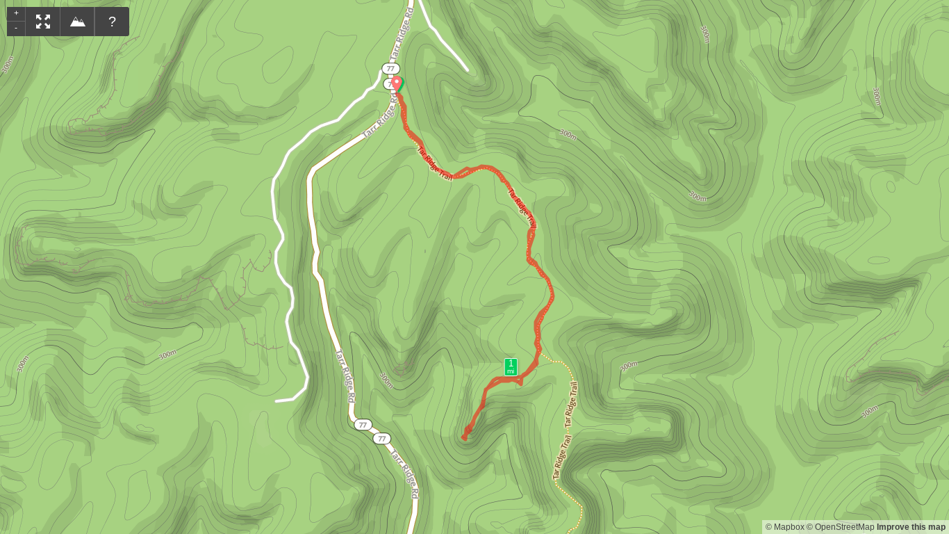 Map of Tarr Ridge Hike to the First Overlook