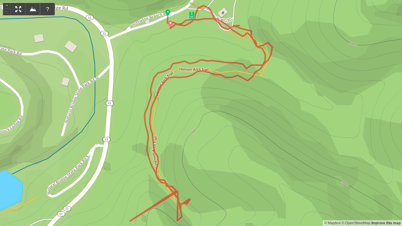 Map of Henson's Arch Hike