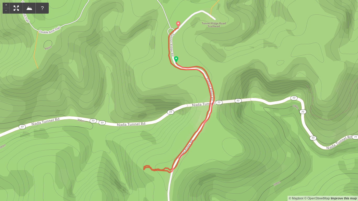 Map of Sunset Hike Above Nada Tunnel Road (I started the GPS late, but you get the idea)