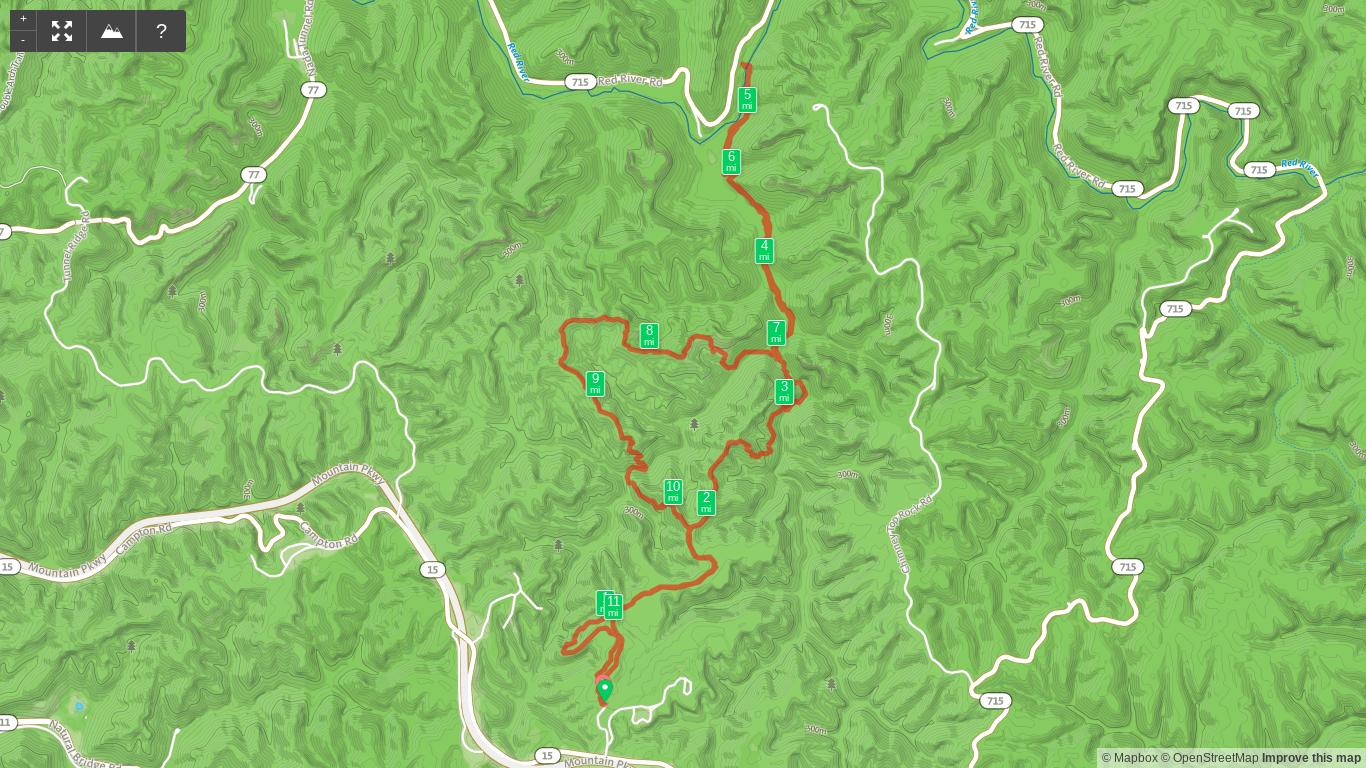 Map of Koomer Ridge Loop Plus Sheltowee Footbridge Spur