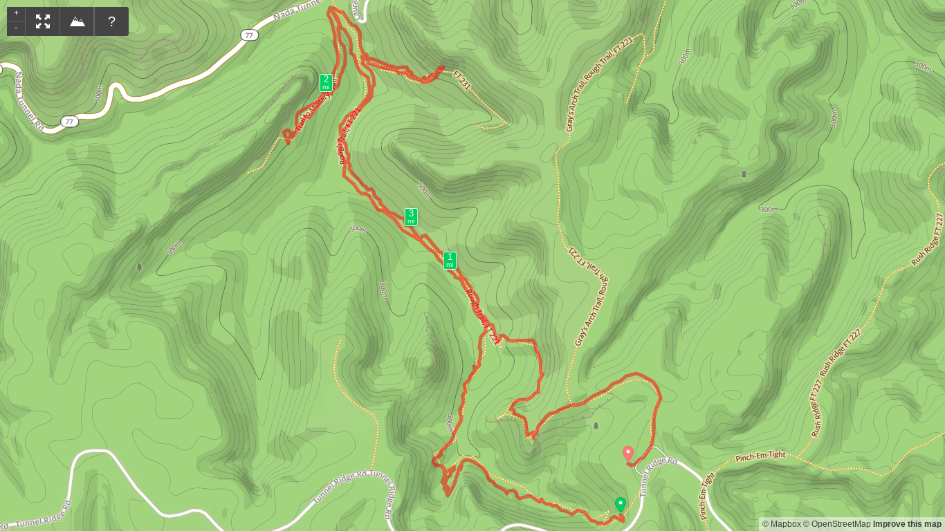 Map of D Boon Hut, Military Wall, and Left Flank Hike