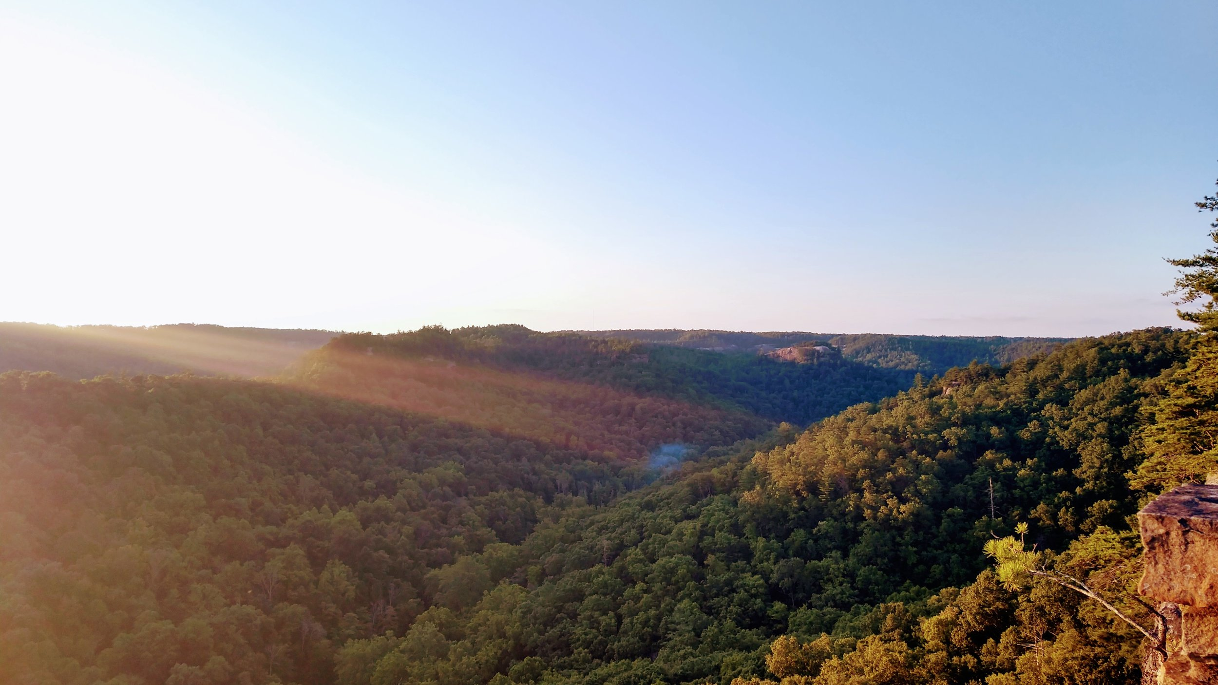 Sunset at Chimney Top Rock - This is a must-visit for anyone at Red River Gorge. Sunsets here can be magical and while this is a busy trail, surprisingly few come out on Friday for sunset.