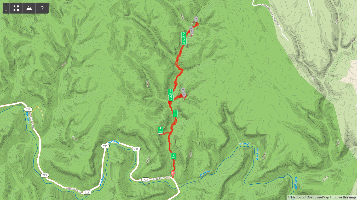Map of Copperas Creek Hike Including Copperas Falls, Sandy Arch, Copperas Arches 1, 2, and 3, Big Trickle Falls, Hopewell Arch.png