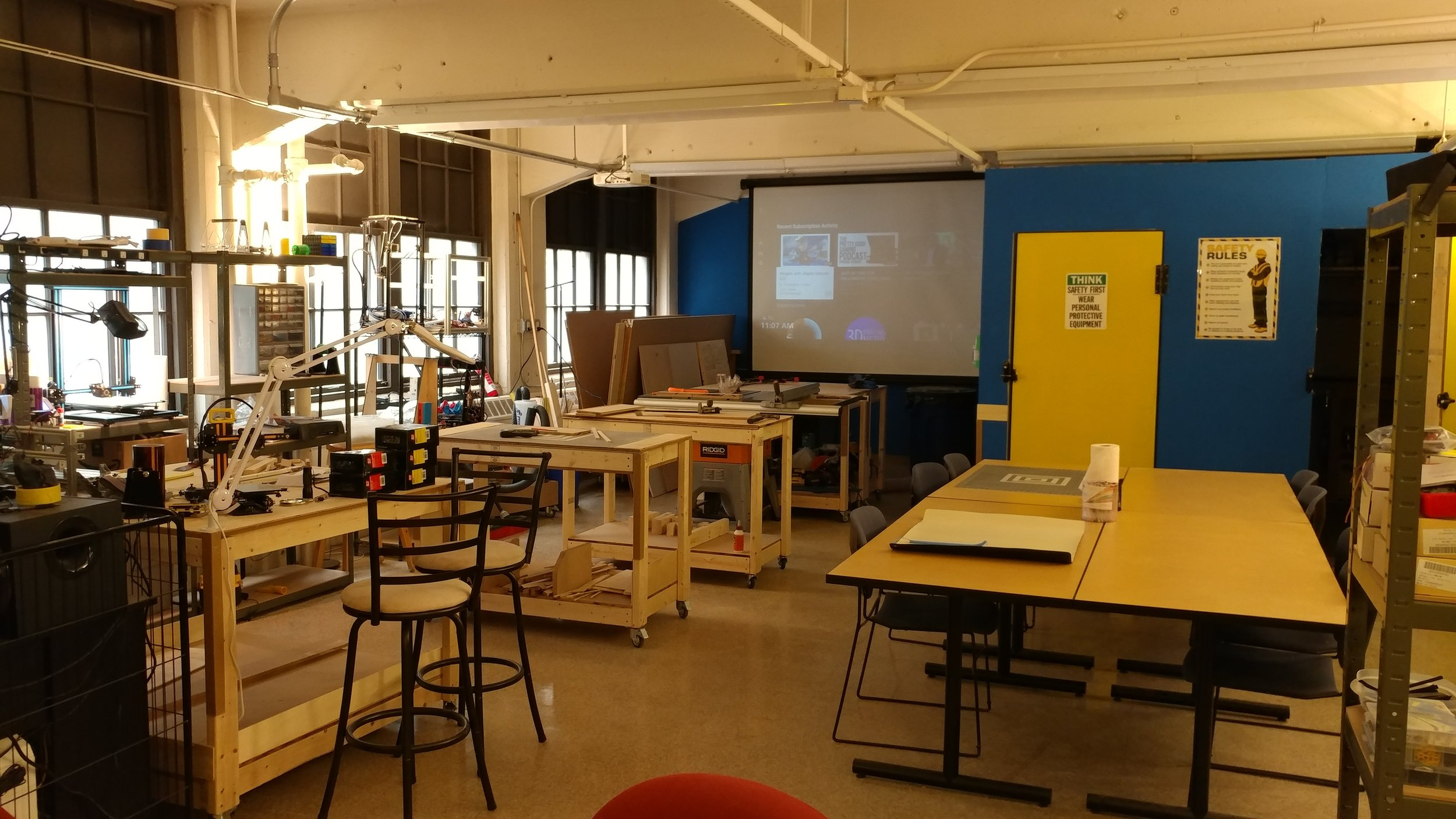 Contact us to be a part of this brand new makerspace in Haverhill, MA. Workbenches, desks, projector for movie night, shared spaces, tools, and more.