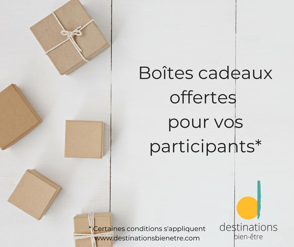 Offre promotionnelle boîtes cadeau offertes aux participants des séjours