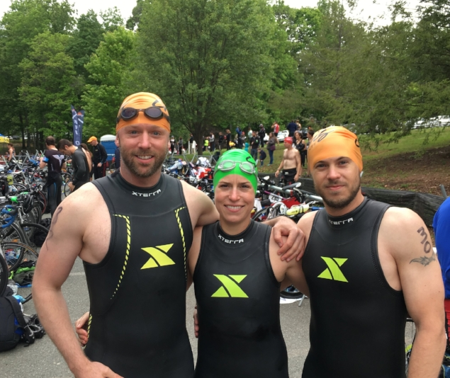 Andrew, Elise, and Mike before the 2017 Monticelloman Half-Ironman