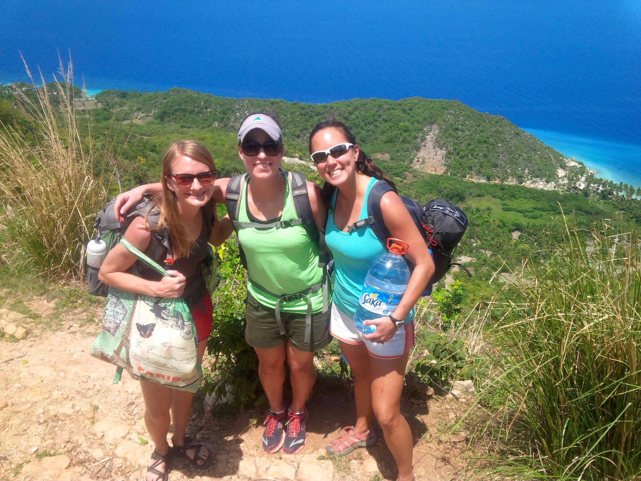 Hiking to a remote beach in Haiti. Photo credit: Patrick Hardin.