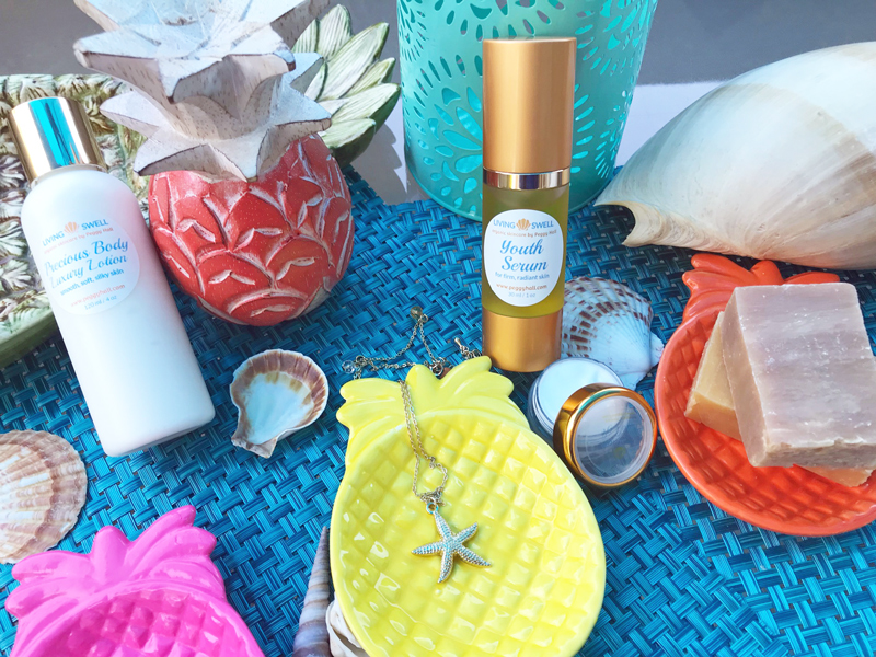 """""""Pineapple Splash"""" Summer 2018 Gift Set includes: Youth Serum, Body Lotion, Eye Lift Cream, Two 2-oz bars of handmade soap, Pineapple ceramic dish, your choice of necklaces, and your choice of zippered beach bag with matching lightweight towel"""