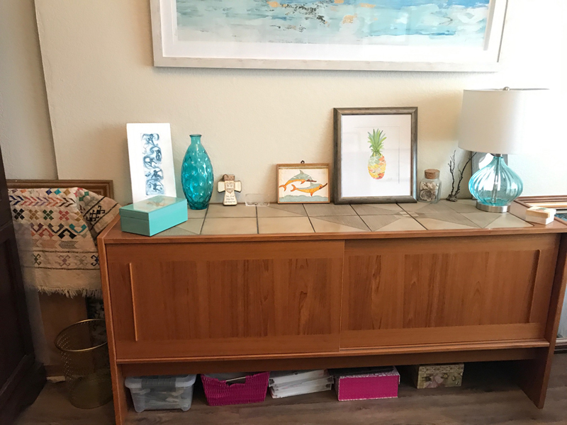 This only took me a few minutes! The boxes under the credenza will get their own 15-minute sessions later.