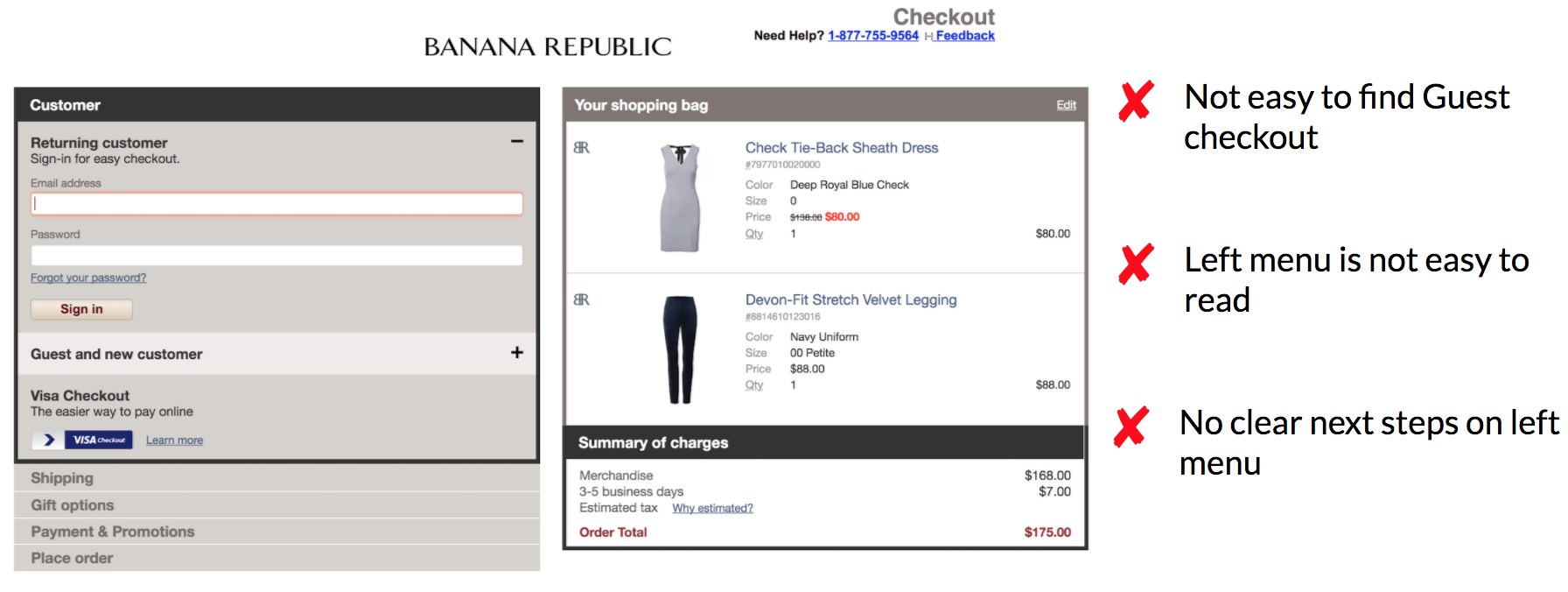 Banana Republic Checkout/Shopping Cart