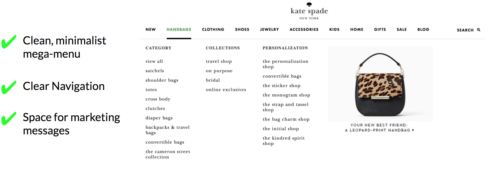 Kate Spade Mega Menu / Information Architecture