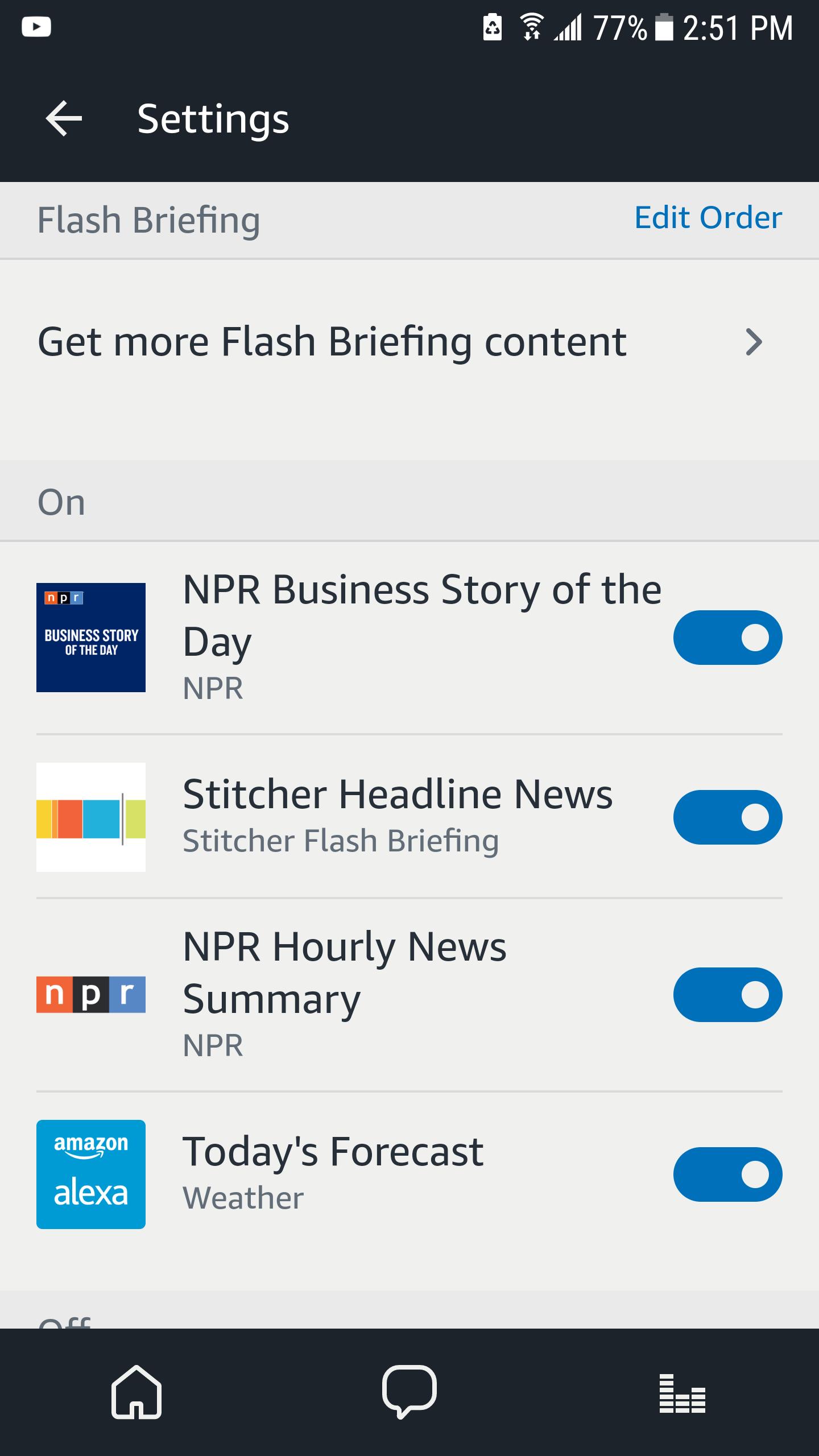 Alexa Flash Briefing News Options