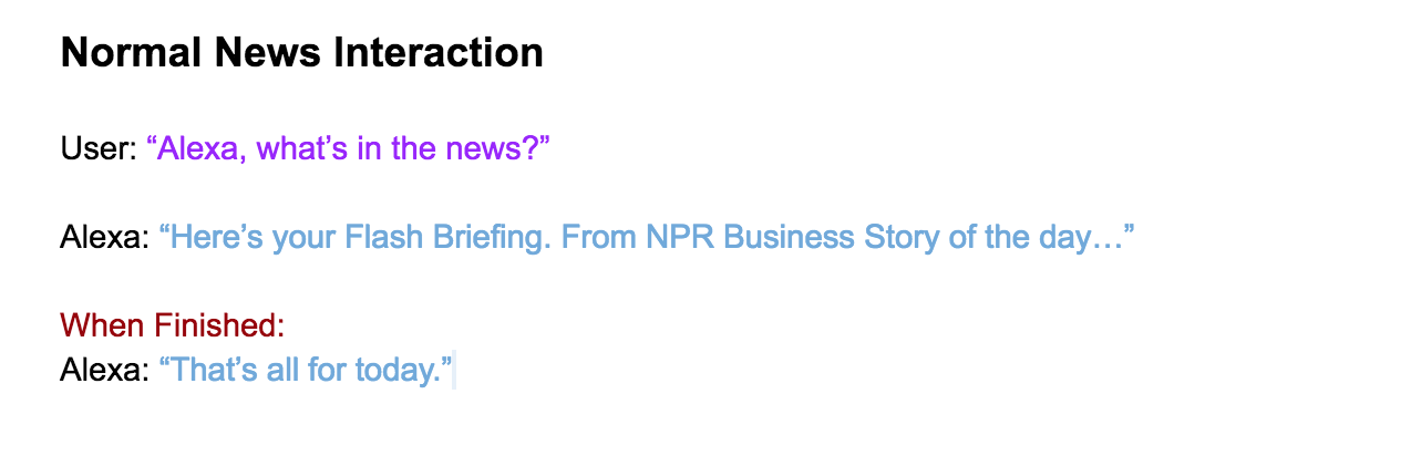Normal News Interaction, from Task 1 in User Flows