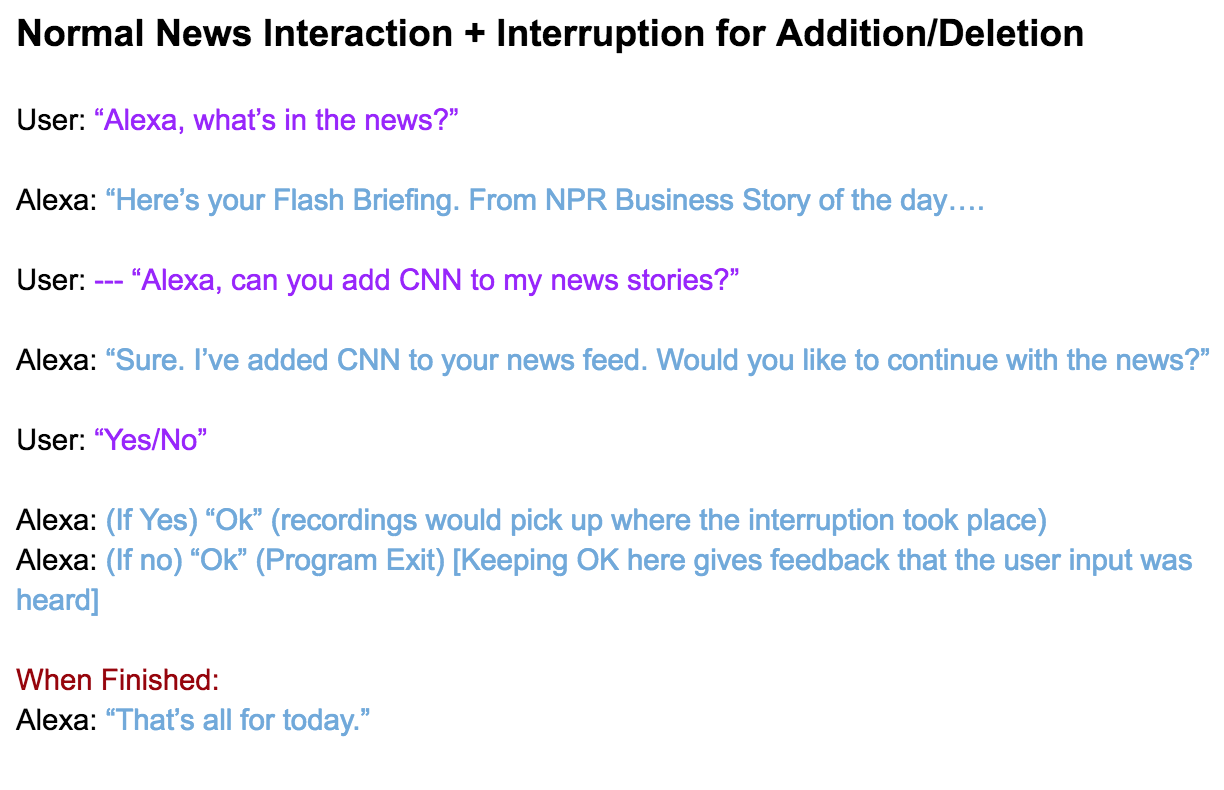 An Interruption from Task 2 in User Flows