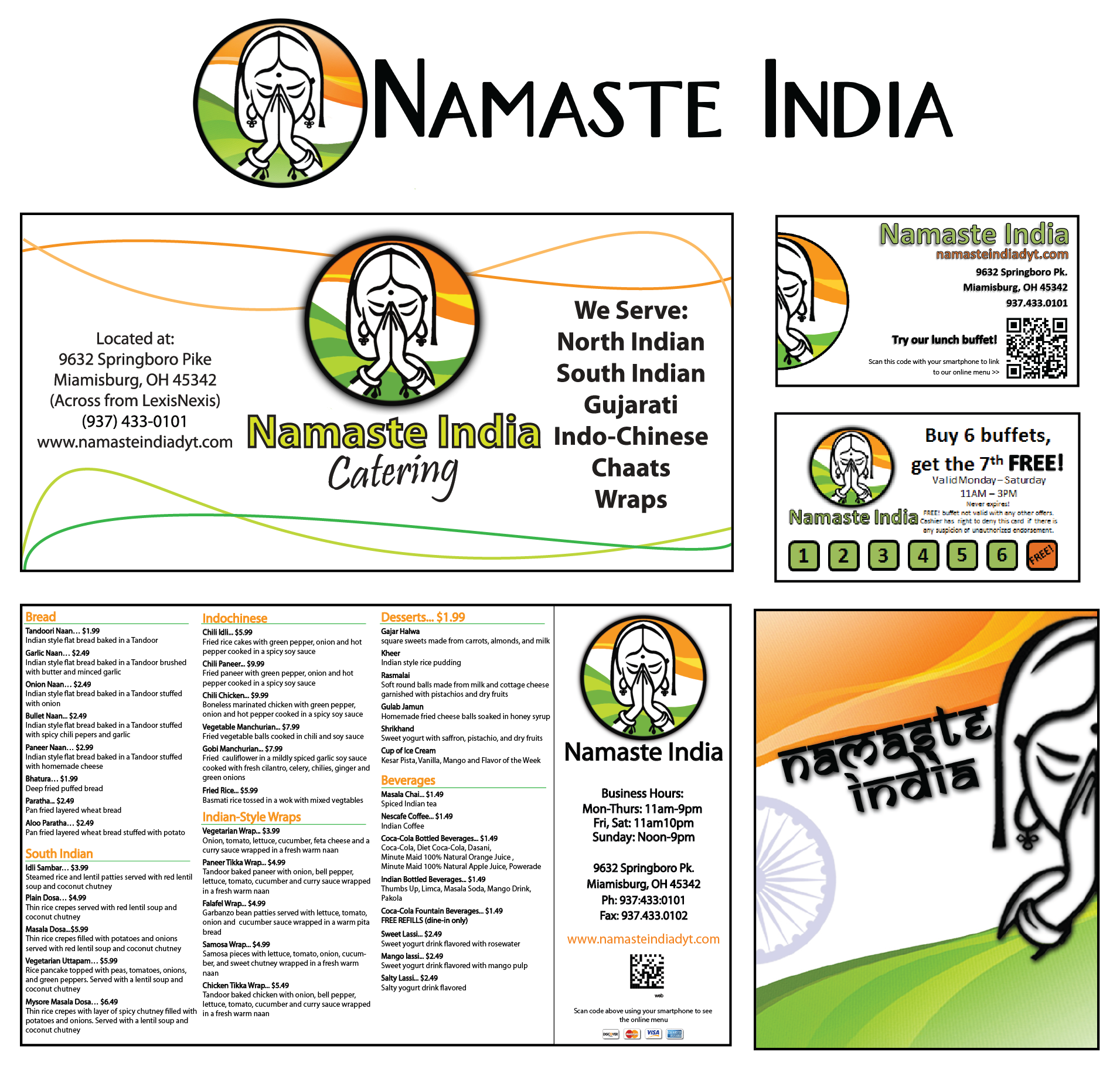 NAMASTE INDIADAYTON-BASED RESTAURANT - SUNNY SCENES DEVELOPED LOGO, MENUS, BUSINESS CARDS, AND VARIOUS OTHER PRINT-BASED MARKETING MATERIALS