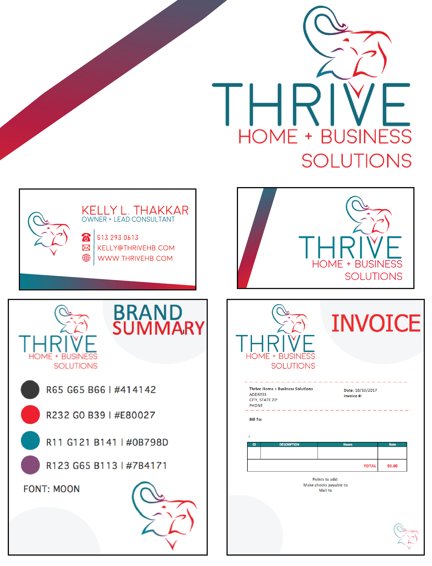 THRIVE HB CONSULTING START-UP - SUNNY SCENES DEVELOPED LOGO, BUSINESS CARDS, BRAND SUMMARY, INVOICES, AND VARIOUS OTHER PRINT-BASED MARKETING MATERIALS