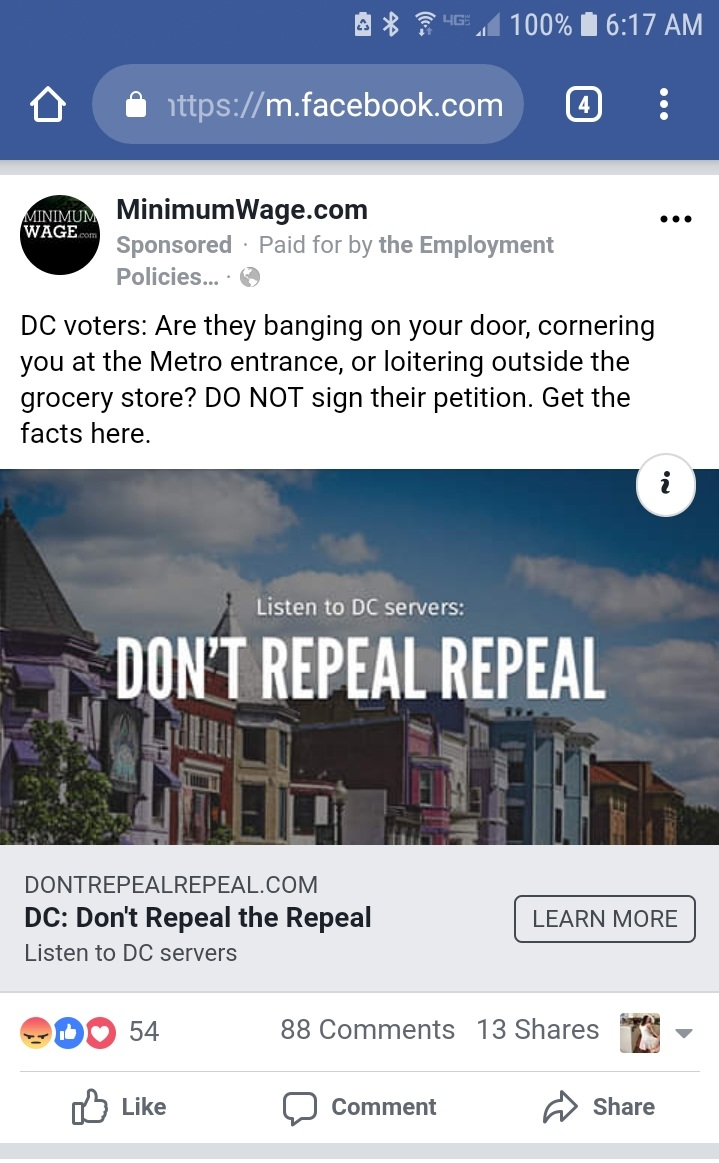 Facebook ad paid for by the Employment Policies Institute