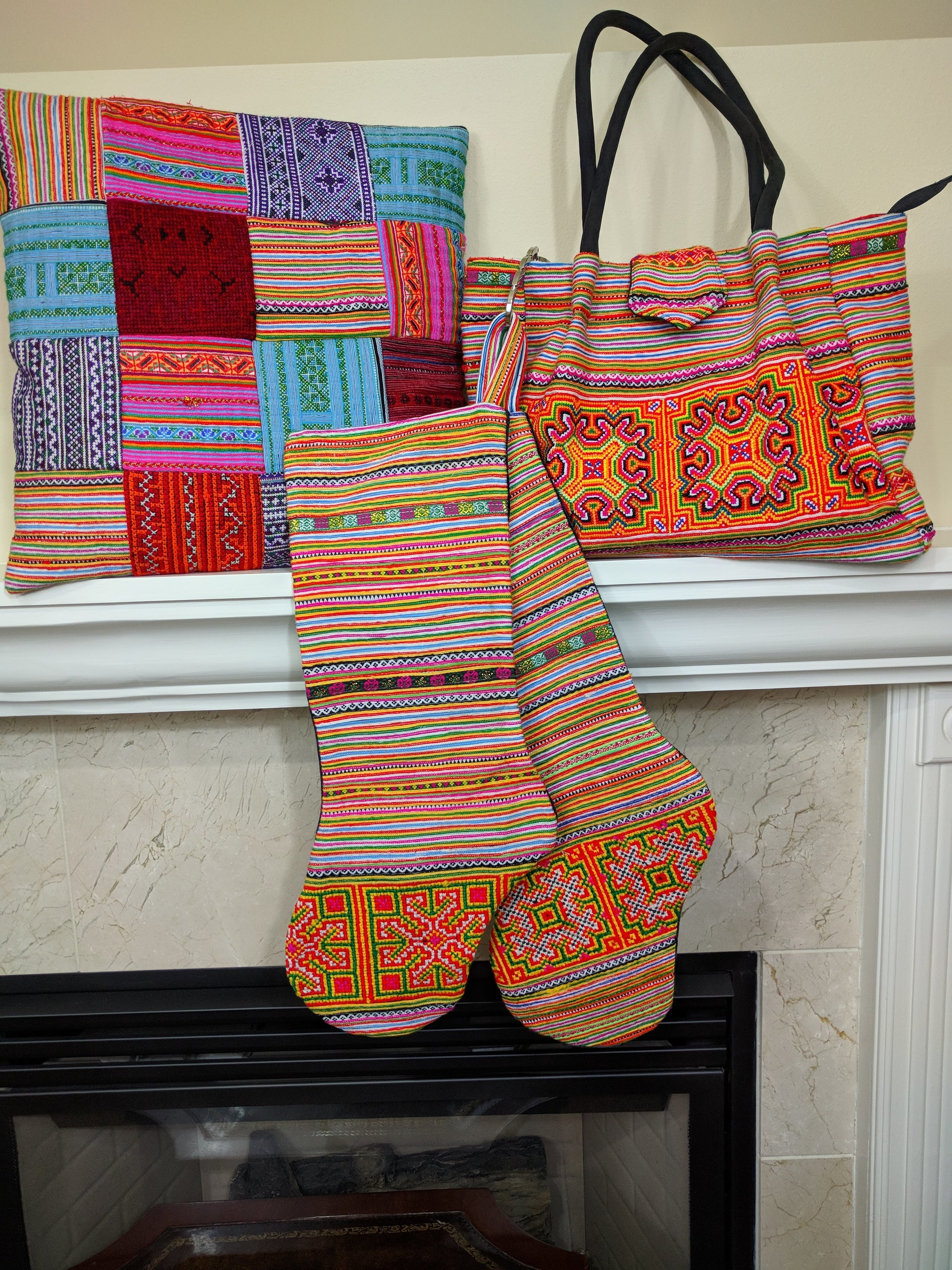 I was thrilled that the purse I purchased from Hien complements the assorted stockings so well! The pillowcase they created showcases the variety of fabrics they work with.