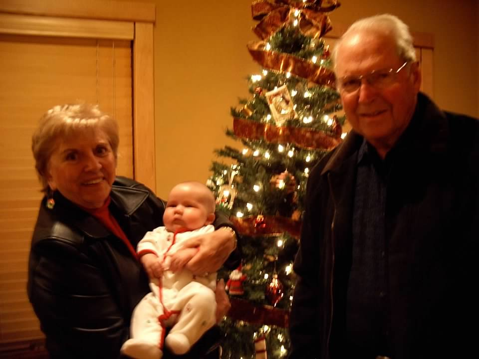 Baby's first Christmas, 2010, was Nana and Granddad's one trip to Wisconsin to visit us before their health declined. It was on this trip that Nana taught me to make her caramel cake and bestowed upon me the little cast-iron skillet to brown the sugar in, which I still use every day.