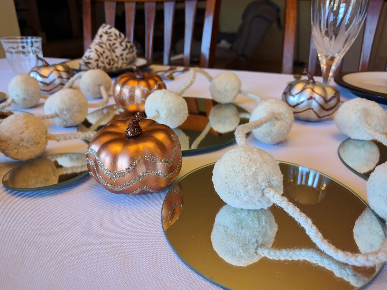 The Peruvian Pom Garland looked lovely on my Thanksgiving table.