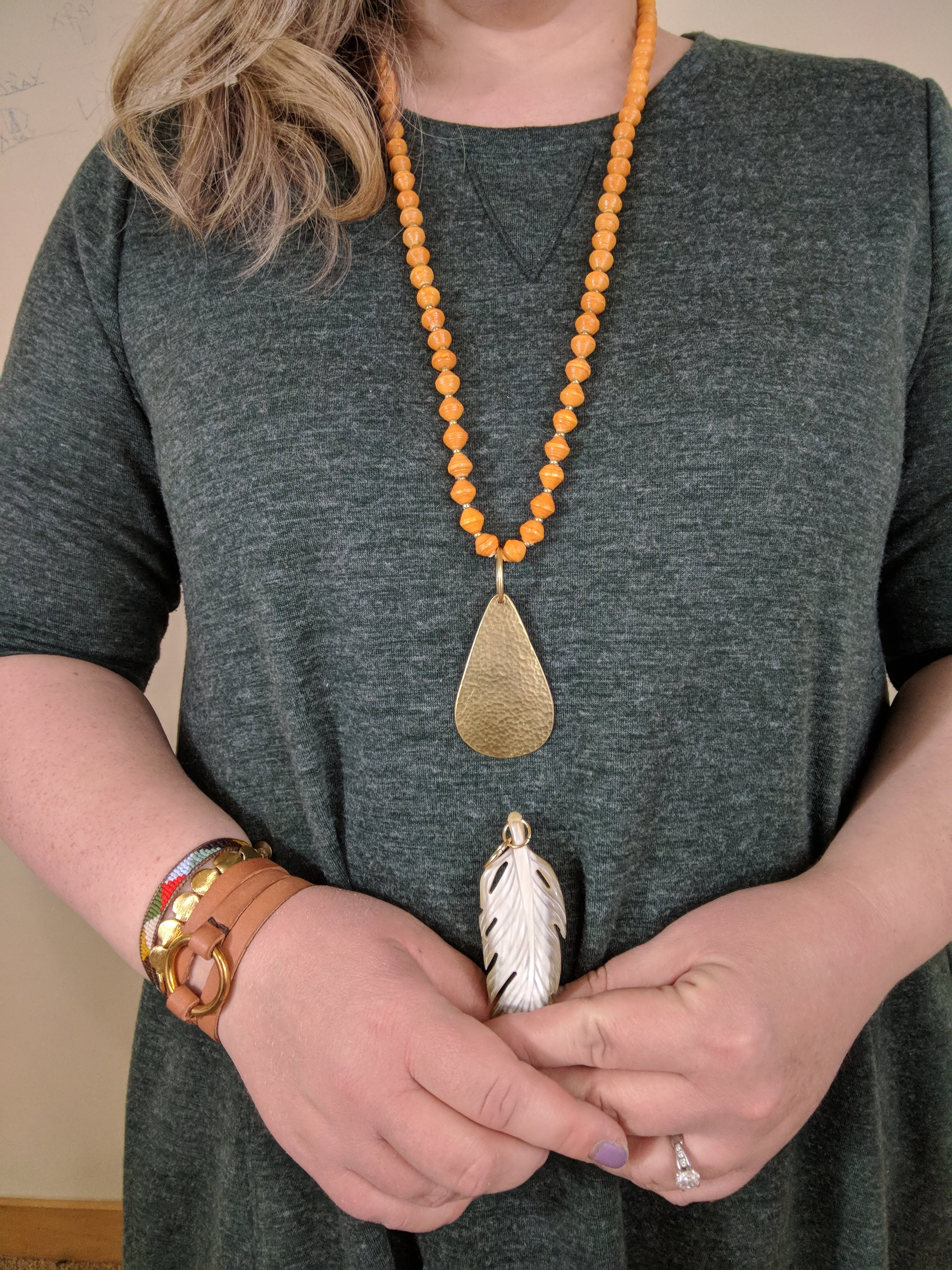 Noonday Collection's fair trade Inspire Necklaces, made of paper beads, can be swapped out with the Abundant, Faith, and Rise Pendants for a customized look.