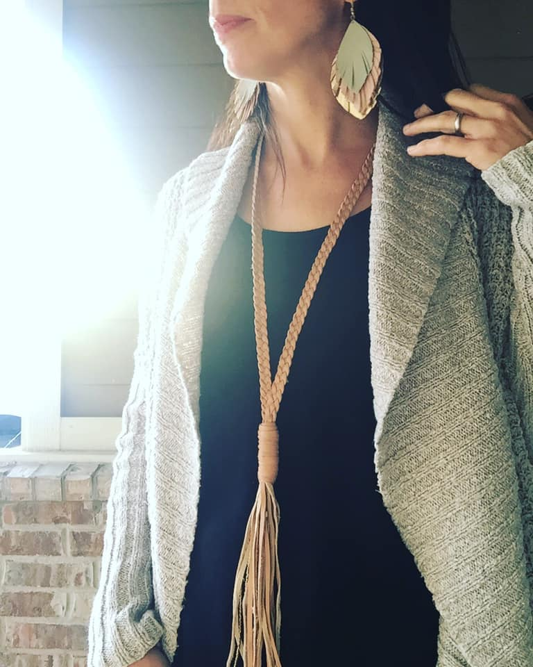 Jill Moerschell is wearing one of my favorite pairs of earrings - the Feathered Fringe - with the bold but long-and-lean Selam Necklace. @hopeamongthetulips