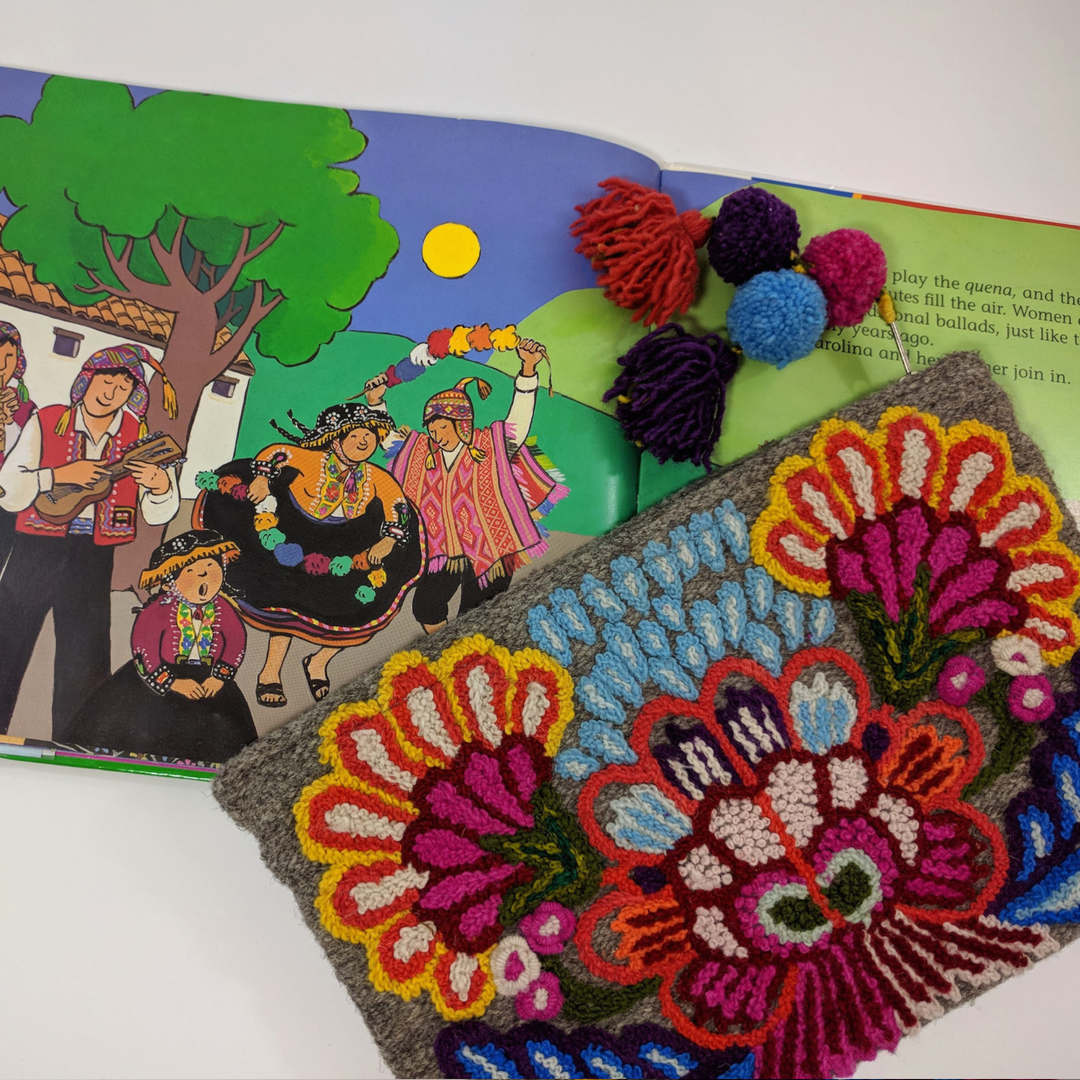 Diverse children's books that connect kids to countries around the globe, featuring Noonday Collection's partner countries. Pictured: Carolina's Gift: A Story of Peru. #noondayambassador #childrenslit #kidslit #diversebooks