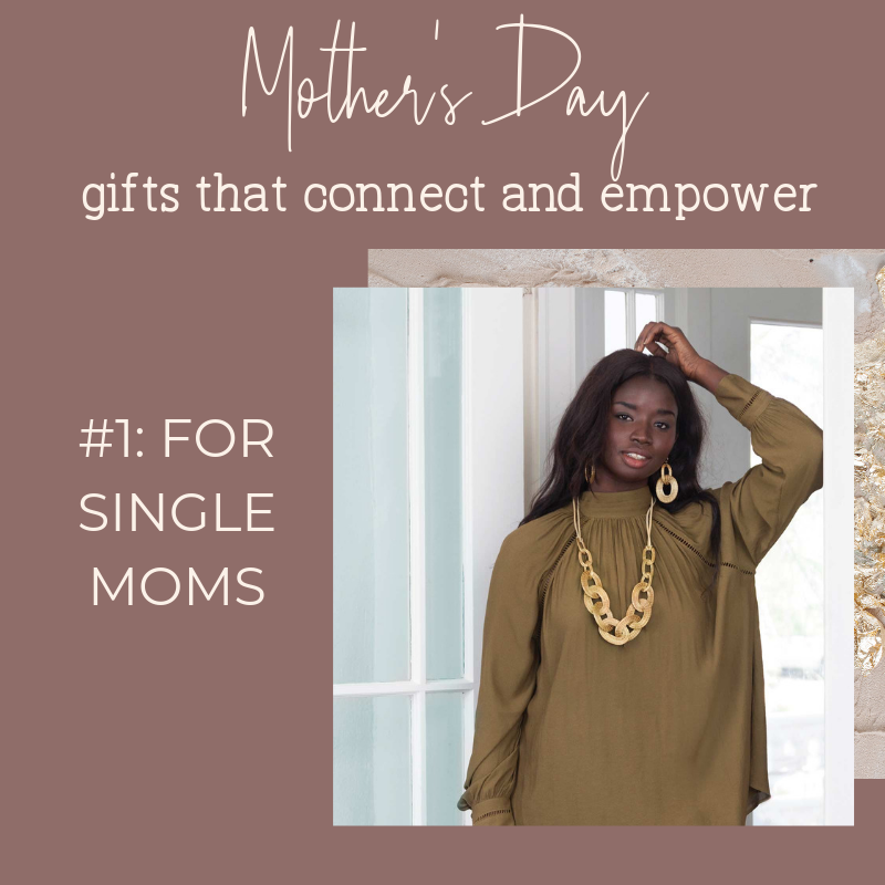 Noonday Collection's fair trade accessories make meaningful Mother's Day Gifts. Gift idea for single moms: Eldorado Necklace and Earrings from Brazil.
