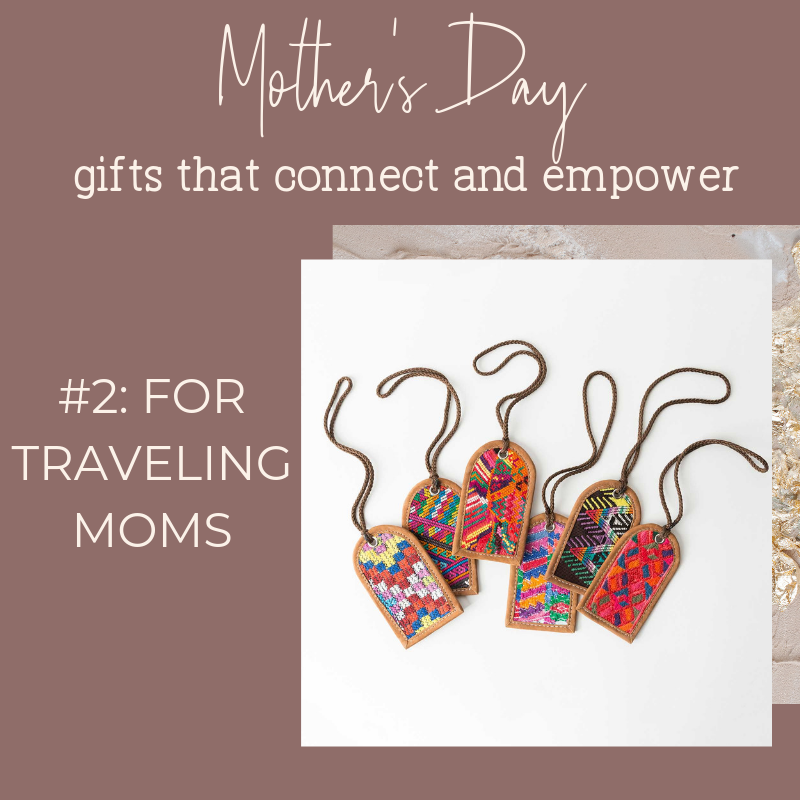 Noonday Collection's fair trade accessories make meaningful Mother's Day Gifts. Gift idea for moms to who travel: Huipil Luggage Tags from Guatemala.