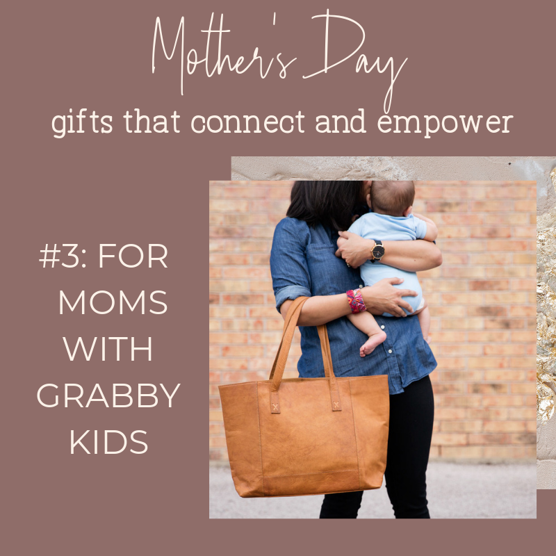 Noonday Collection's fair trade accessories make meaningful Mother's Day Gifts. Gift idea for moms with grabby kids: Modern Leather Tote from India