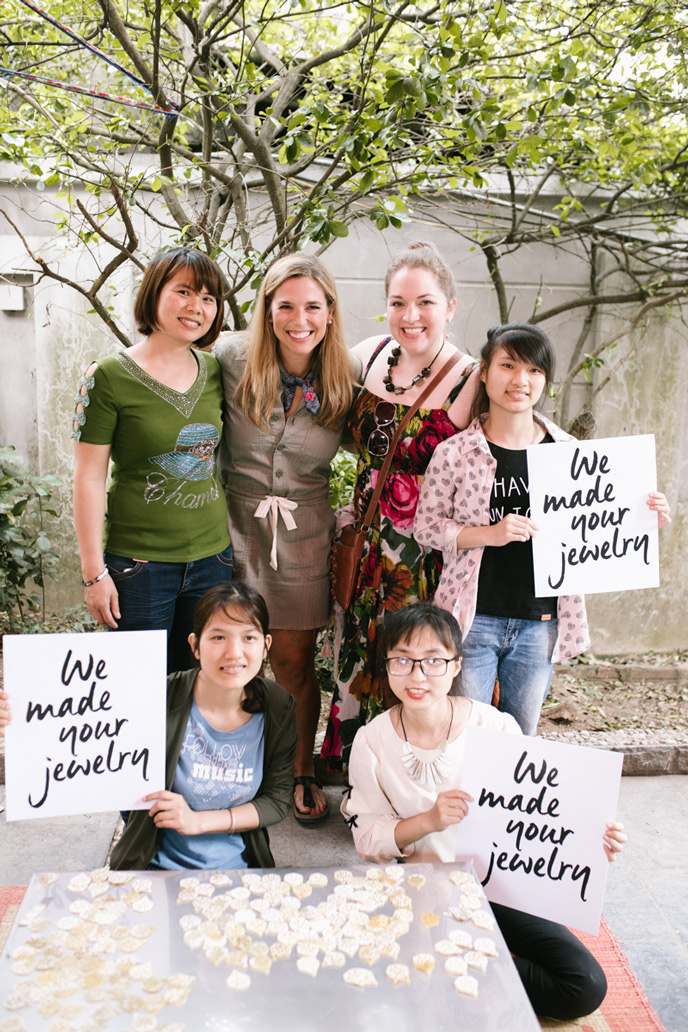in Vietnam with Noonday's founder, Jessica Honegger, as well as entrepreneur Lanh and a few of her employees. They create jewelry for Noonday, with safe work, great wages, cultural preservation, and more at the heart of the business.