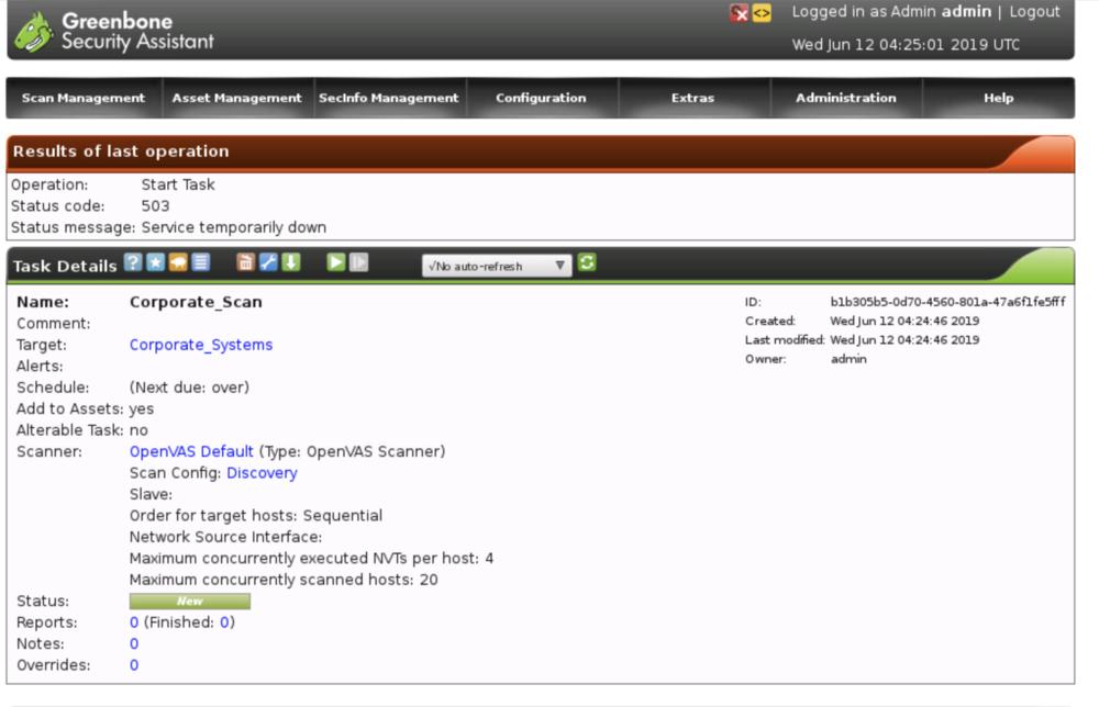 Cybrary SOC Career Path - Greenbone Security Assistant 503