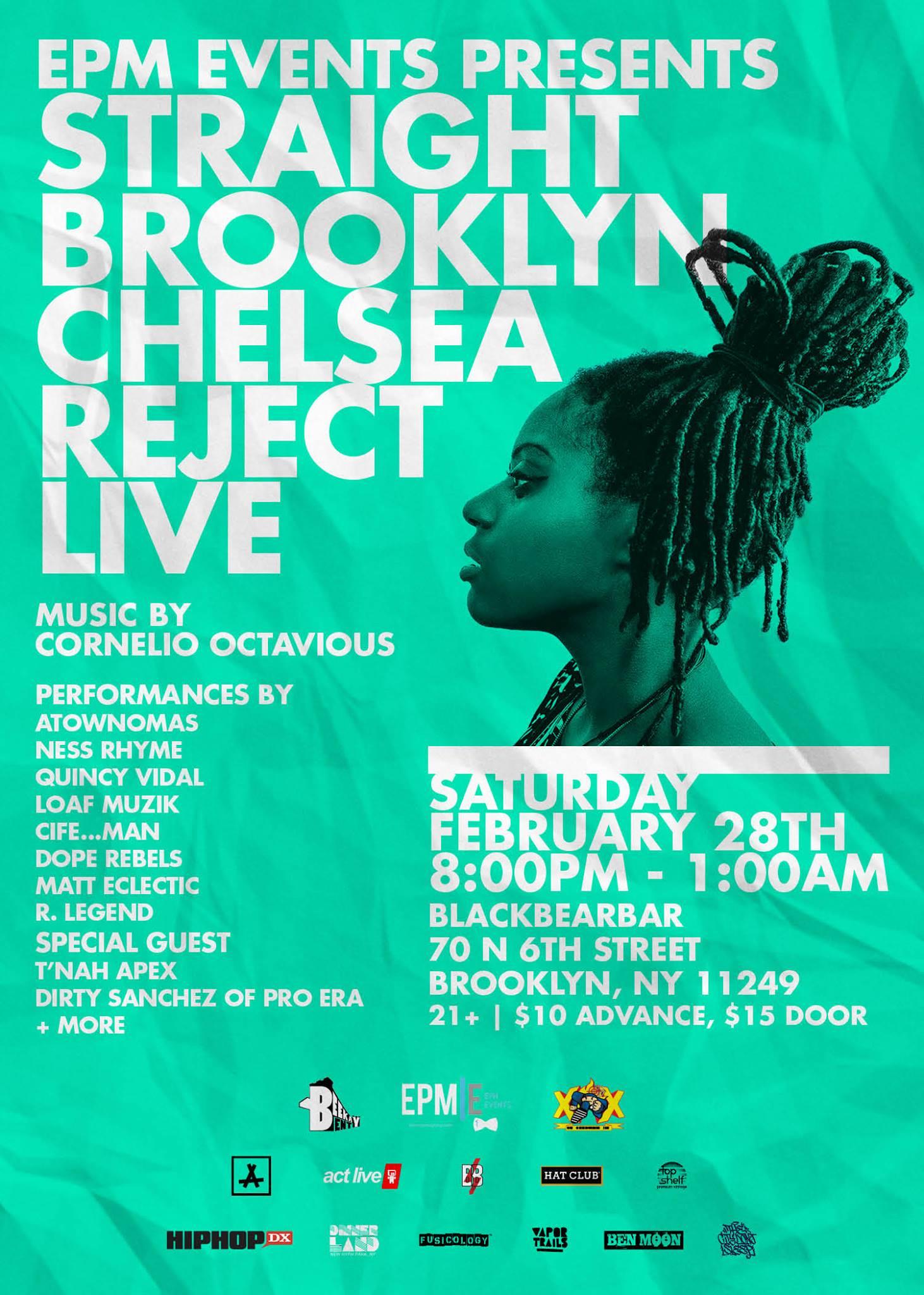Straight Brooklyn: Chelsea Reject Live  Black Bear Bar 2.28.15